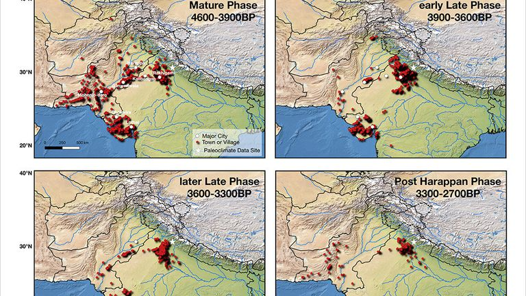 This figure shows the settlements of the Indus Valley Civilization during different phases of its evolution. RIT Assistant Professor Nishant Malik developed a mathematical method that shows climate change likely caused the rise and fall of the ancient civilization. Credit: Rochester Institute of Technology