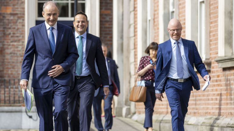 Irish Prime Minister Micheal Martin, Deputy Prime Minister Leo Varadkar and health minister, Stephen Donnelly. Pic: Julien Behal Photography