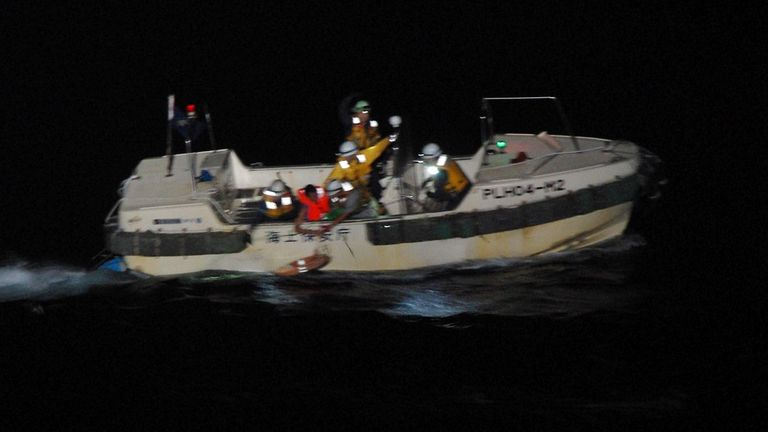 One person has been rescued from a capsized ship near Japan. Pic: Japan Coast Guard