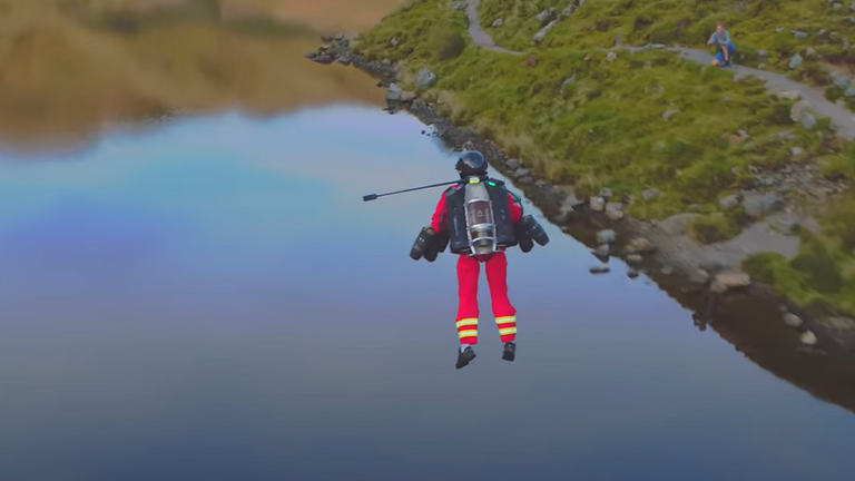 A flying paramedic has taken to the skies above the Lake District. Pic: Gravity Industries
