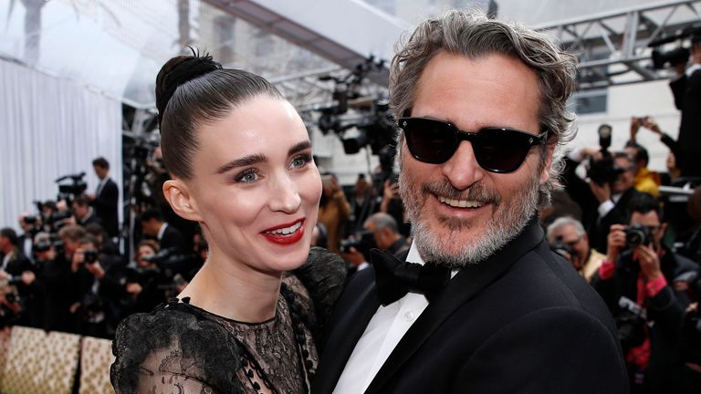 Joaquin Phoenix with his actress fiance Rooney Mara