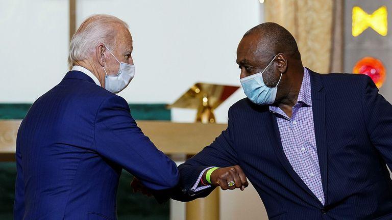 Mr Biden spoke to members of the Kenosha community at a church during his visit