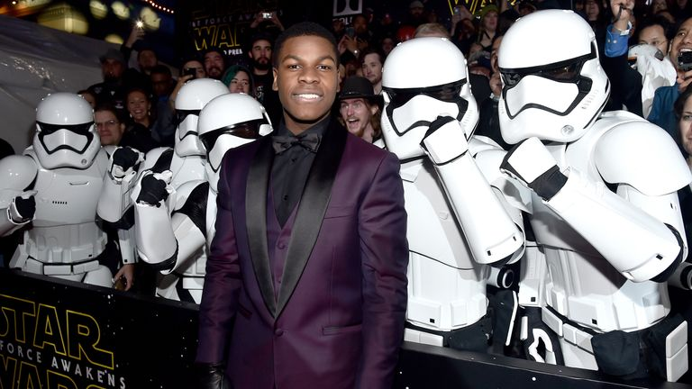 John Boyega attends the World Premiere of Star Wars: The Force Awakens.. at the Dolby, El Capitan, and TCL Theatres on December 14, 2015 in Hollywood, California