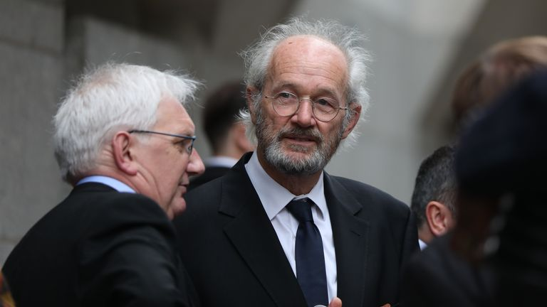 Julian Assange's father John Shipton is pictured outside the Old Bailey