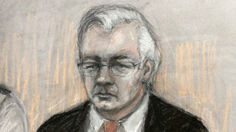 An artist's impression of Assange in the dock at the Old Bailey on Monday