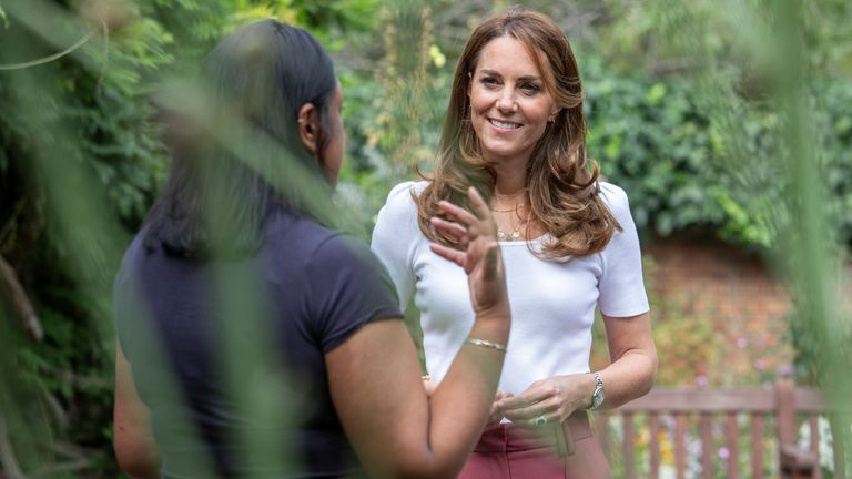The Duchess of Cambridge spending the day learning about the importance of parent-powered initiatives, hearing from families and key organisations about the ways in which peer support can help boost parent wellbeing. .Here, Her Royal Highness in Battersea Park listening directly to parents about their experiences of parent-to-parent support..22 September 2020..Jack Hill/The Times/Rota.