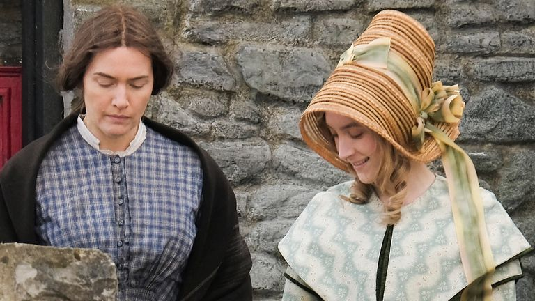 Kate Winslet and Saoirse Ronan on the set of new period drama 'Ammonite' on March 13, 2019 in Lyme Regis, England