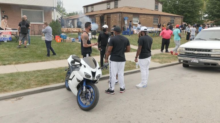Neighbours on the street Jacob Blake was shot held a party during Mr Trump's visit