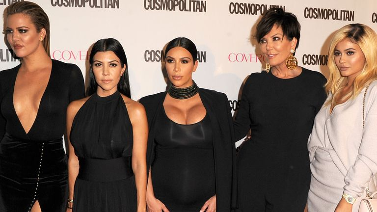 (R-L) Khloe, Kourtney and Kim Kardashian work the red carpet with Kris and Kylie Jenner in 2015