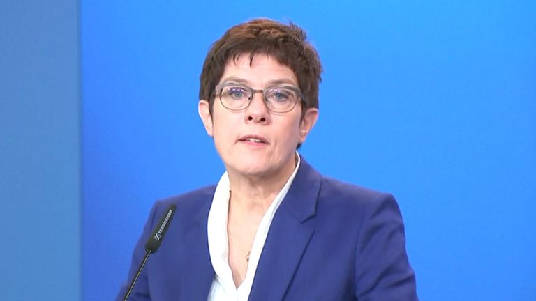 German Defense Minister Annegret Kramp-Karrenbauer says Russian opposition leader Alexei Navalny was poisoned with a chemical agent from the Novichok group, citing new test results.