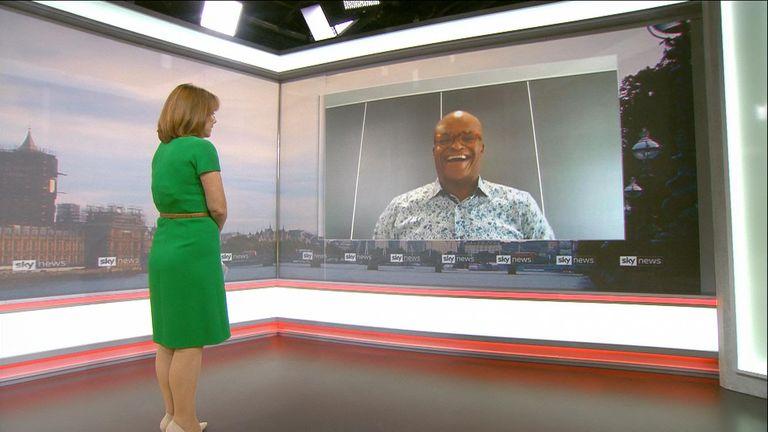 Former sportsman Kriss Akabusi speaks to Sky's Kay Burley