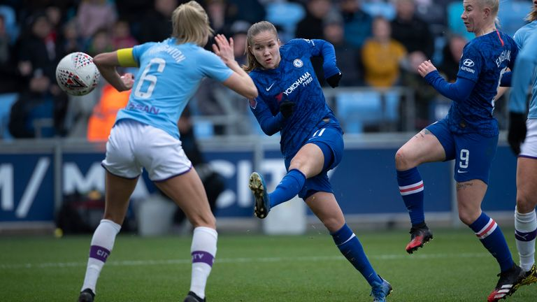 Guro Reiten of Chelsea shoots during the Barclays FA Women's Super League match between Manchester City and Chelsea at The Academy Stadium on February 23, 2020 in Manchester, United Kingdom