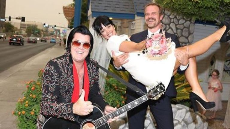 In classic Vegas fashion, an Elvis impersonator married the couple, Pic: Instagram/dkharbour/