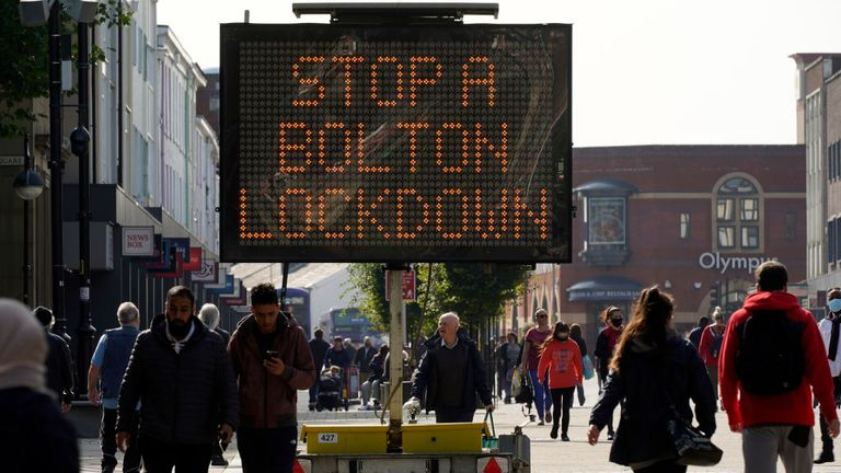 Bolton is one of the parts of the UK where restrictions have been tightened