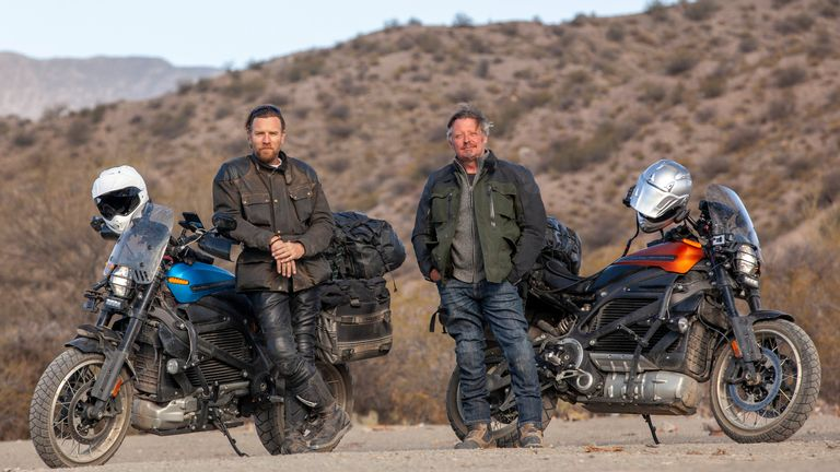 Long Way Up reunites Ewan McGregor and Charley Boorman for a motorbike adventure through South and Central America. Pic: Apple TV +