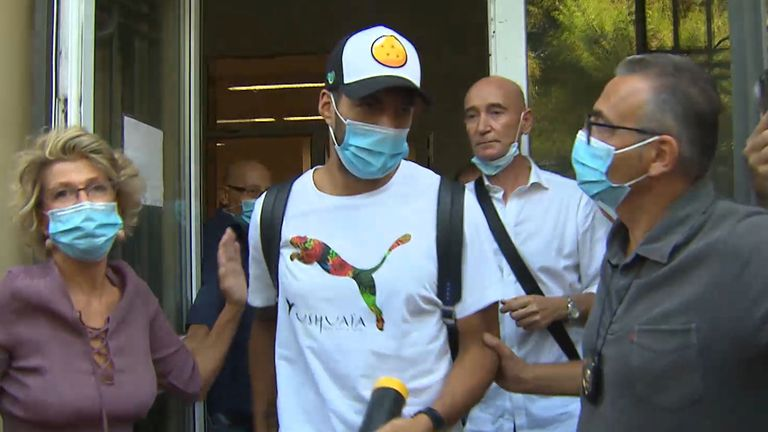 Luis Suarez leaves the University for Foreigners in Perugia after taking an Italian citizenship test