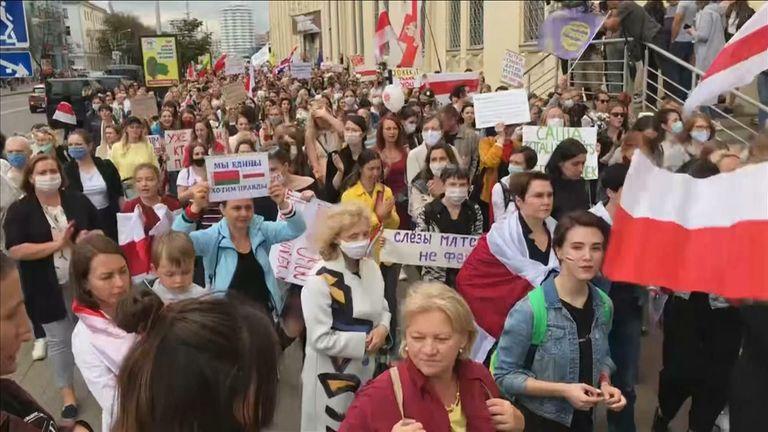 Women march in Belarus against president Lukashenko