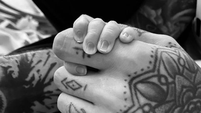 Malik tweeted a picture of him holding his baby's hand Pic: @zaynmalik