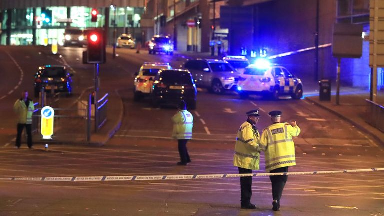 Emergency services respond to the Manchester Arena terror attack at an Ariana Grande concert in May 2017