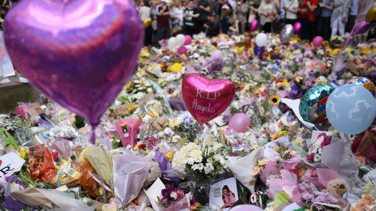 A mass of flowers was left to pay respects to those who died in the Manchester bombing