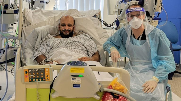 Farhan Hamid, 41, from south Manchester, is pictured in hospital