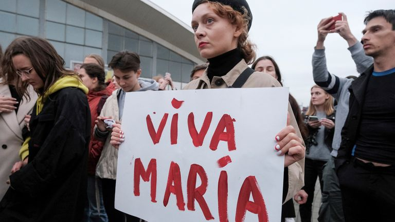 A woman expresses her support for detained opposition leader Maria Kolesnikova