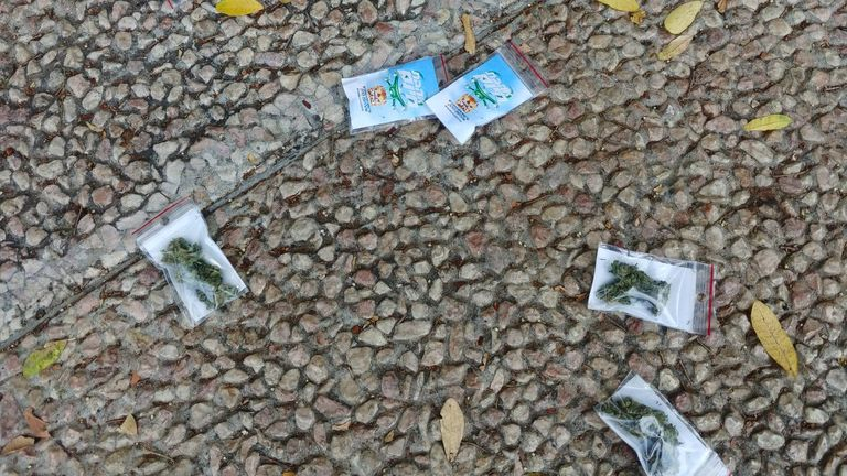 Packets that were dropped from a drone over a main Tel Aviv square and which Israeli police suspect contained cannabis are seen on the ground in Tel Aviv, Israel September 3, 2020. Israel Police/Handout via REUTERS THIS IMAGE HAS BEEN SUPPLIED BY A THIRD PARTY.