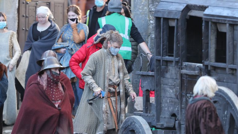 Matt Damon leaves the set of the Last Duel, an historical drama-thriller film directed by Ridley Scott, at Cahir Castle in Co Tipperary.