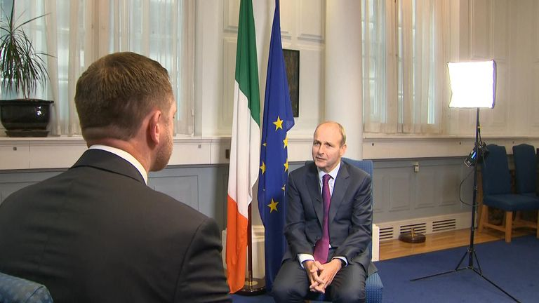 Irish Prime Minister Micheal Martin speaks with Sky's Ireland Correspondent Stephen Murphy
