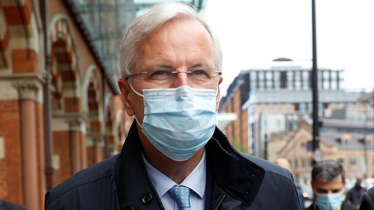 EU's Brexit negotiator Michel Barnier departs the Eurostar in London, Britain September 9, 2020. REUTERS/Peter Nicholls