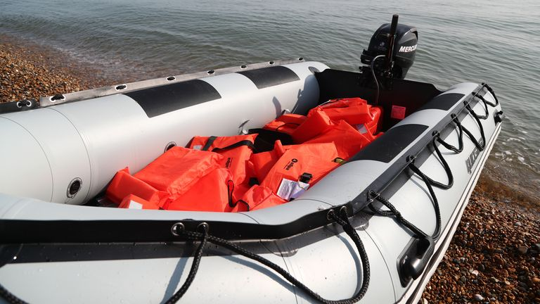 Lifejackets were left behind in the dinghy at Kingsdown beach, near Dover, Kent