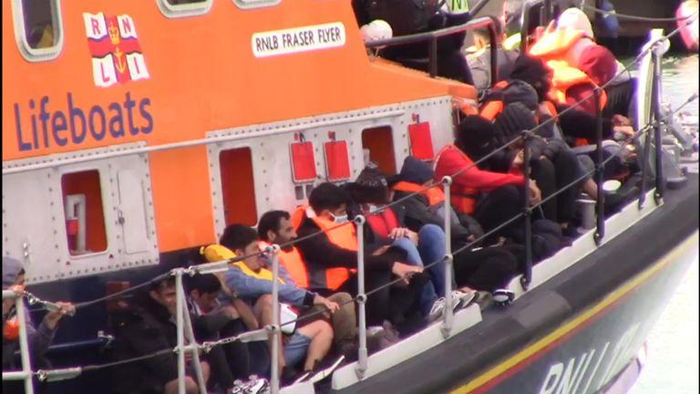 Migrants onboard RNLI lifeboats