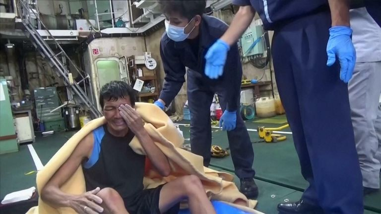 Rescued man cries after being saved
