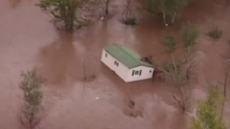 Mobile home is seen floating away in France