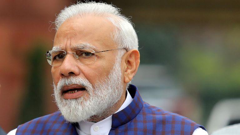 Indian Prime Minister Narendra Modi speaks to the media in New Delhi
