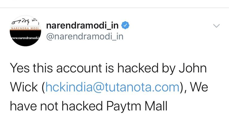 Narendra Modi's personal account was hacked on Wednesday