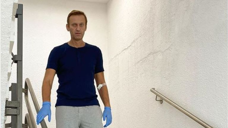 Alexei Navalny walking down stairs in hospital. Pic: Alexei Navalny/Instagram