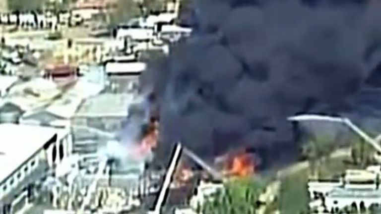 Fire rages at recycling plant in New Mexico