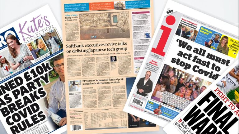 Monday's national newspaper front pages