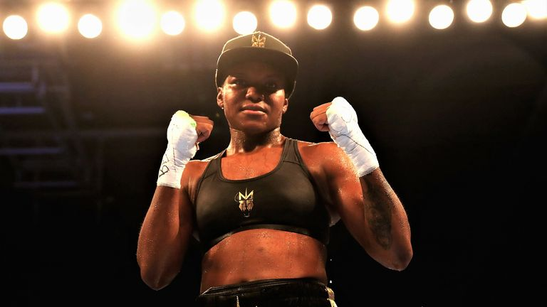 Nicola Adams of England celebrates her win against Isabel Millan of Mexico during the Interim WBO World Female Flyweight Championship contest  at Morningside Arena on October 6, 2018 in Leicester