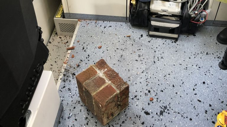 A brick was thrown at an ambulance during an assault in Blyth, Northumberland in July. Pic: North East Ambulance Service