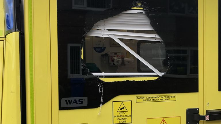 An ambulance window was smashed during an assault in Blyth, Northumberland in July. Pic: North East Ambulance Service