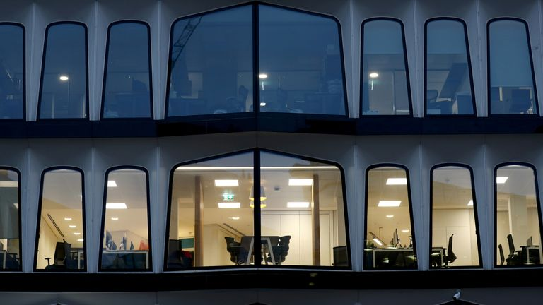Empty offices in London as the pandemic continues