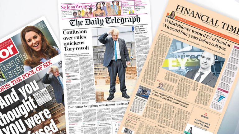 Wednesday's national newspapers