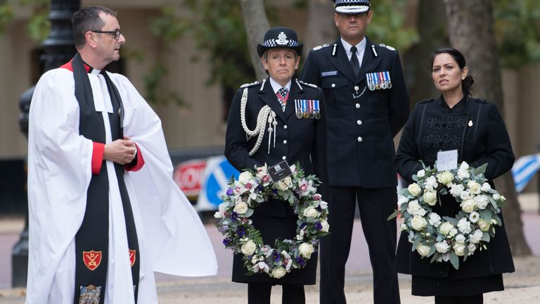 Metropolitan Police Commissioner Dame Cressida Dick, Home Secretary Priti Patel and London Mayor Sadiq Khan (not pictured) attend the National Police Memorial in London to mark National Police Memorial Day.