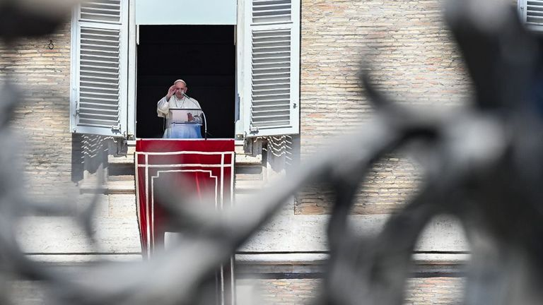 The Pope addressed worshippers from a window overlooking St Peter's Square