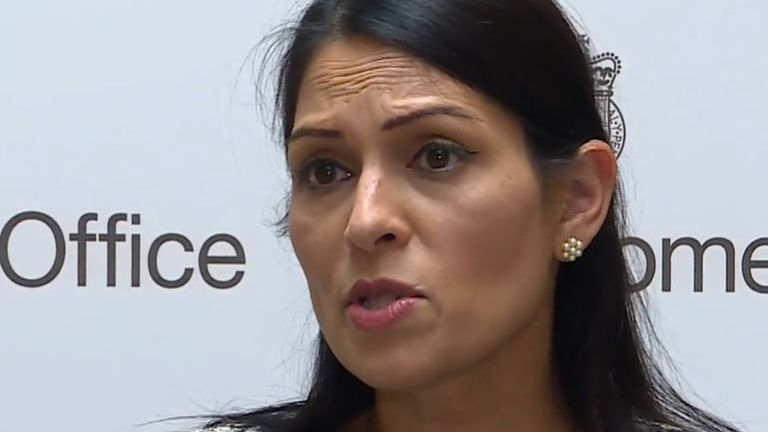 Priti Patel reacts to news that a police officer has been shot dead in Croydon