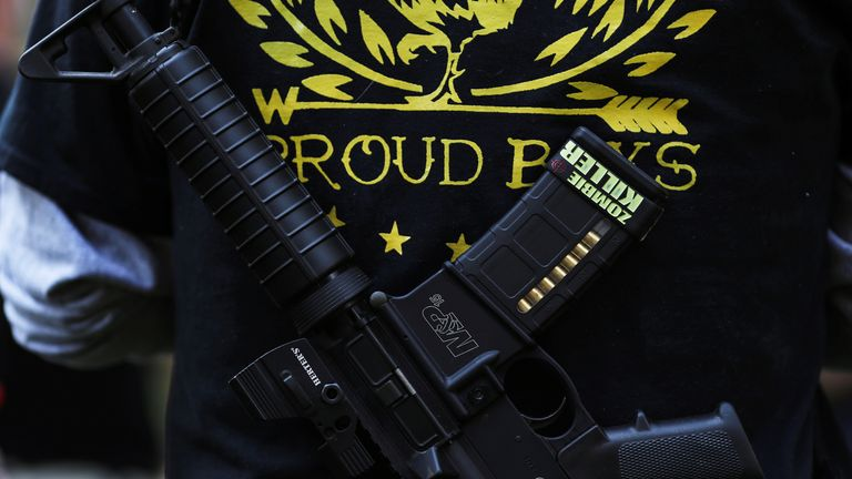 Weapons are a common feature of Proud Boys gatherings