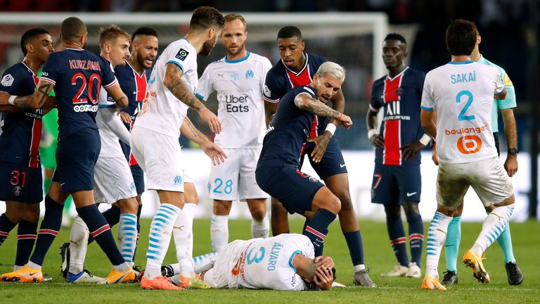 PSG and Marseillle players clashed during the match