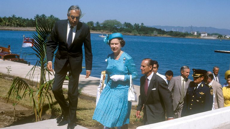 The Queen on a visit to Jamaica in 1983